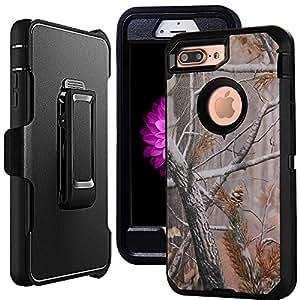 iPhone 7 手机壳皮带扣,Harsel 皮套加厚保护壳迷彩木全包坚固保护*级防震保护套带透明屏幕保护膜和支架 iPhone 7 4.7 英寸 透明