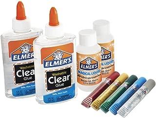 Elmer's Slime Starter Kit可水洗半透明顏色膠水, Clear School Glue, Glitter Glue Pens & Magical Liquid Activator Solution, 9 Count