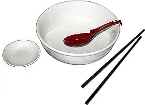 正品饭店 4 件套陶瓷 Pho 奶嘴碗套装,白色象牙白 Ivory White, Black and Red 8.25 Inch COMINHKG120935