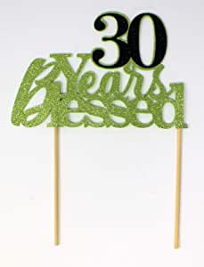 All About Details CAT30YB 30 Years Blessed 蛋糕装饰 1 件生日 Lime Green & Black 6 x 8 CAT30YB