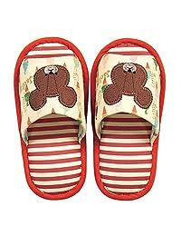 小熊学校 圆形地垫&儿童用拖鞋 软膏 内寸:約18cm 830