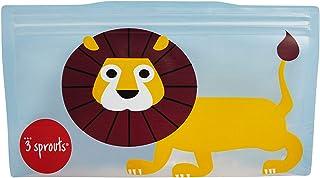 3 Sprouts 2 件装零食袋可重复使用和可清洗旅行食品袋,适用于儿童午餐, 狮子 Lion