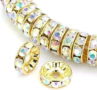 *品质玻璃间隔珠奥地利水晶 14K 镀金莱茵石吊坠珠宝制作 5mm 750253023799