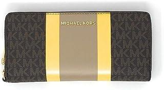 Michael Kors 迈克高仕 Jet Set 女式皮革旅行欧式腕带钱包 棕色多色 中号