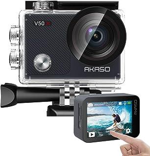 AKASO V50X 本機 4K30fps WiFi 運動相機帶 EIS 觸摸屏,4X 變焦 131英尺防水相機支持外部麥克風遙控運動相機,帶頭盔配件套件