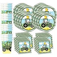 农场拖拉机时间生日派对用品套装餐巾纸杯套装(16 个)