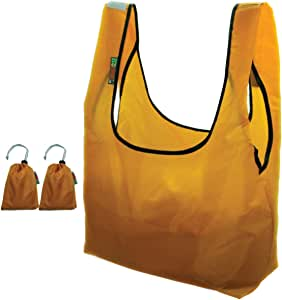 EcoJeannie 2 件装*防撕裂尼龙可折叠可重复使用的袋杂货购物手提袋,带内置袋 芥末黄 9 Wx5.5 L RBS210