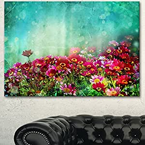 "Designart PT14179-20-12 蓝色画布上的小红和粉色花朵艺术印刷品, 50.80x30.48cm 红色 20x12"" PT14179-20-12"