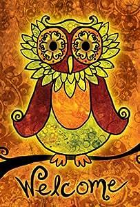 Toland Home Garden Welcome Owl 12.5 x 18 Inch Decorative Colorful Fall Autumn Bird Garden Flag
