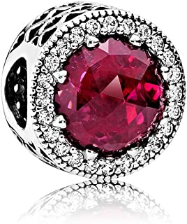 Pandora Moments Funkelndes Cerise Charm Sterling Silber, Mixed stones 791725NCC