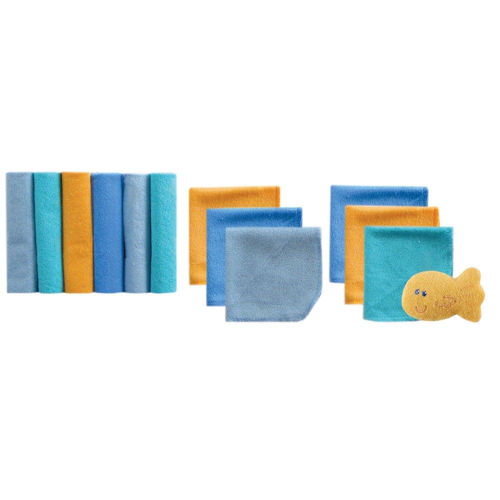 Luvable Friends 美国熊宝宝婴儿12件装小方巾和玩具PVC装 05910蓝色 9*9inches