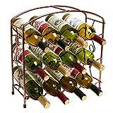 现代葡萄*设计独立式金属 12 瓶*储物架/3 层*架 青铜色 TB-RAC0078BRZ