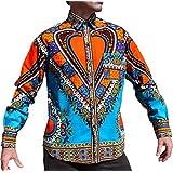 Raan Pah Muang Funk 工装衬衫非洲大喜吉节日长袖欧式领 蓝色 X-Large