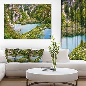 "Plitvice Lake Long View Landscape Photo on 帆布艺术墙照片艺术作品印刷品 绿色 20x12"" PT9069-20-12"