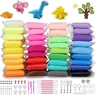 DaCool 塑模粘土 36 种颜色空气干燥超轻软魔法模粘土 DIY 塑料工艺玩具,带多种工具,送给孩子的*礼物