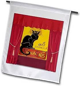 """3dRose fl_181632_2"""" Le Chat Damour 带戏剧窗帘边花园旗帜,45.72 x 68.58cm"""