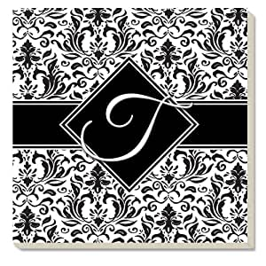 CounterArt Initially Yours Absorbent Coasters, Monogrammed 'T', Set of 4