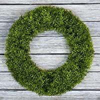 Boxwood 花环,纯花园的前门人造花环,家居装饰,防紫外线 - 14 英寸 绿色 20x3.25 50-111
