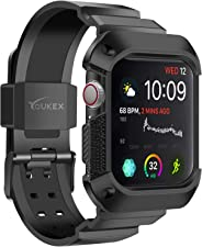 YOUKEX Apple Watch 4 表带表壳 44 毫米 40 毫米,带表带保护壳 适用于 Apple Watch Series 4 2018 版