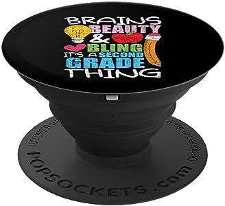 女童 2 级抓握式后跟学校 美丽大脑 PopSockets 握把和支架,适用于手机和平板电脑260027  黑色