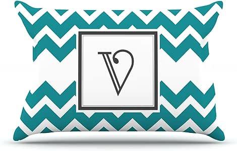 Kess InHouse KESS 原创 91.44 x 50.8 厘米枕套,大号双人床,字母织字母 V,V 形图案,蓝*