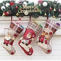 A.Banana圣诞节装饰布置用品 新年礼品 装饰圣诞老人雪人袜子 独立包装圣诞袜子礼物 (雪人款(2只装))