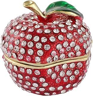 Furuida 幸运苹果首饰盒铰链手绘钻石小首饰盒水果装饰品工艺礼品室装饰女士女孩 红色