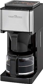 ProfiCook PC-KA 1138,2合1咖啡机带研磨器(1-14级),约 8-10杯(1.25升),不锈钢前端,咖啡豆容器,适用于约 150 克咖啡豆,永久填充,传感器触摸面板带 LED 显示屏(蓝色照明),可编程的 24 小时 LED...