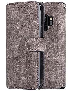 适用于三星 Galaxy S9 手机壳(非 Plus),Marval.P 超薄高级绒面皮真皮钱包手机壳卡槽防震对开保护壳磁扣支架套 灰色