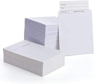 KARRES 自粘图书馆卡袋,带卡片 - 批量装 100 包,白色,3.5 x 4.5 英寸口袋