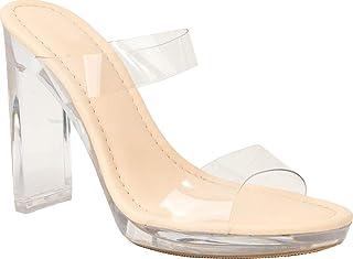 Static Footwear 女式透明露趾粗跟凉鞋高跟一脚蹬凉鞋