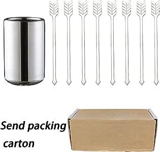 HTTH 水果叉套装不锈钢迷你沙拉水果口叉鸡尾酒叉,咖啡叉,8 件附带不锈钢盒 银色