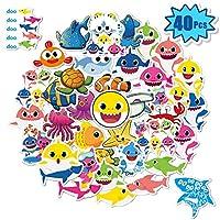 40 件婴儿鲨鱼贴纸,适用于水瓶,笔记本电脑贴花用于水壶、iPad、手机、行李、自行车、滑板、汽车|儿童婴儿鲨鱼主题派对礼物