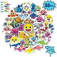 40 件嬰兒鯊魚貼紙,適用于水瓶,筆記本電腦貼花用于水壺、iPad、手機、行李、自行車、滑板、汽車|兒童嬰兒鯊魚主題派對禮物