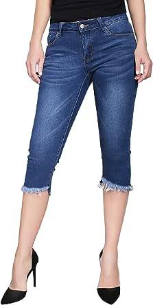 2LUV 女士弹力 5 口袋紧身七分裤 Denim Medium1 5