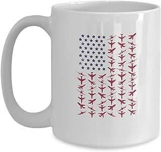 航空美国国旗白色马克杯 - 炫酷独特陶瓷咖啡杯 - 圣诞、生日、航空节礼物,适合飞行员、船长、飞行员、机械师和风扇 白色 15oz GB-1804981-43-White