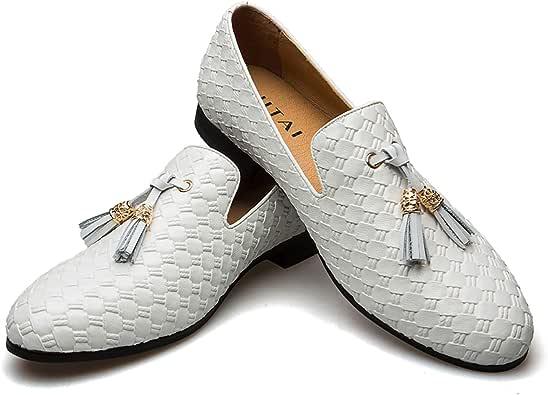 男式复古天鹅绒 Bv 刺绣高贵乐福鞋一脚蹬乐福鞋吸*拖鞋流苏乐福鞋 白色 12 M US