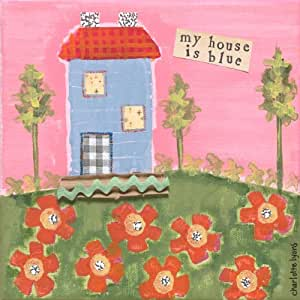 Oopsy Daisy My House is Blue Stretched Canvas Art by Charlotte Lyons, 10-1/2 by 10-1/2-Inch