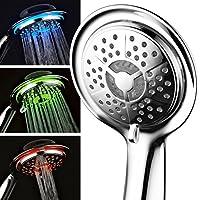 PowerSpa 4 英寸 LED 手持式淋浴头,带喷气 LED 涡轮增压喷嘴技术(高级铬)