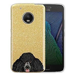 """混合保护套,FINCIBO 闪亮闪耀银色闪光 TPU 混合硅胶保护套适用于摩托罗拉 Moto G5 Plus 5.2"""",Akita Inu Puppy Black Standard Poodle Puppy"""