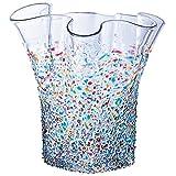 ADERIA 玻璃 花器 *大19×高20cm 津轻 花瓶 荷叶边 日本制造 F-79455