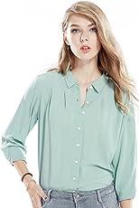 lasher 女式休闲长袖纽扣上衣女式衬衫雪纺衬衫