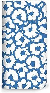 MITAS 手机壳翻盖式花花  ホワイトブルー(ベルトなし) 3_Galaxy Note (SC-05D)