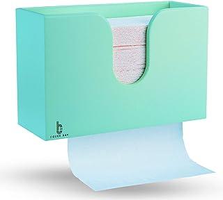 竹制纸巾分配器,厨房浴室卫生间卫生间卫生间家庭和商用,壁挂或台面,多折叠,C折叠,Z折叠,三折手巾 浅蓝色