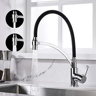 Ibergrif M22129-2,黑色厨房2喷雾功能,带有柔性喷嘴的水槽龙头,镀铬