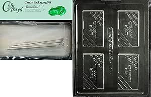 "Cybrtrayd 生命派对 J114 欢迎家用名片巧克力糖果模具密封保护塑料袋印有模塑说明 透明 3-7/8"" x 2-1/4"" x 3/8"" deep MdK25S-J114"
