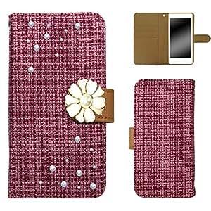 白色坚果 ツィード 装饰手机保护壳翻盖式 粉色 20_ Optimus it L-05D