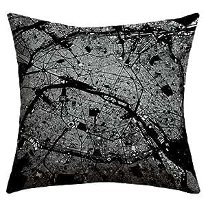 Deny Designs CityFabric Inc Paris 黑色户外抱枕,26 x 26