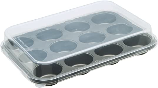 Ecolution 12 Cup Muffin/Cupcake Baking Pan with Lid, Gray