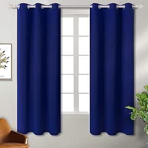 BGment 房间变暗隔热遮光窗帘适用于客厅,金属索环顶部,2 片